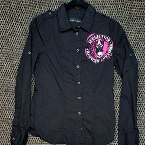 AFFLICTION BLK/PINK BUTTON DOWN (S) NWT